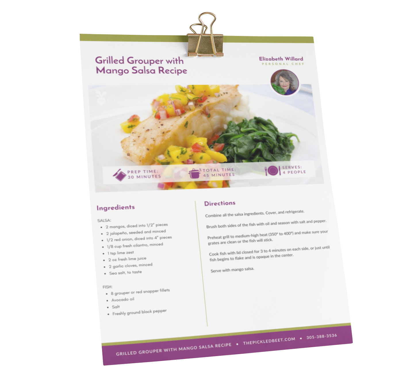 Grilled Grouper with Mango Salsa Recipe Download Mockup